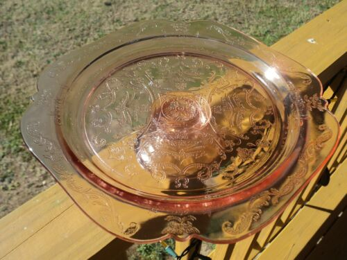 Vintage Indiana Glass Recollection Pink Madrid Depression Footed Cake Stand
