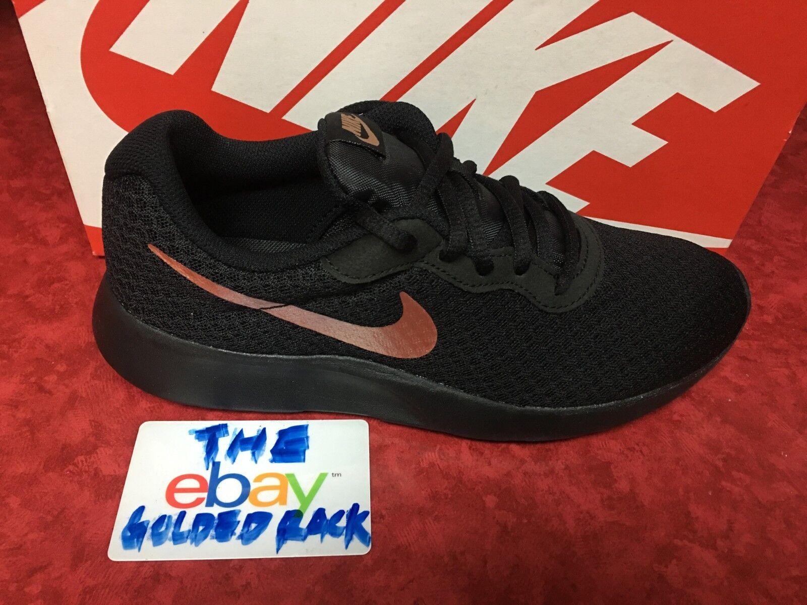 Nike Tanjun Womens 812655-005 Black Metallic Bronze Mesh Running Shoes Size NEW