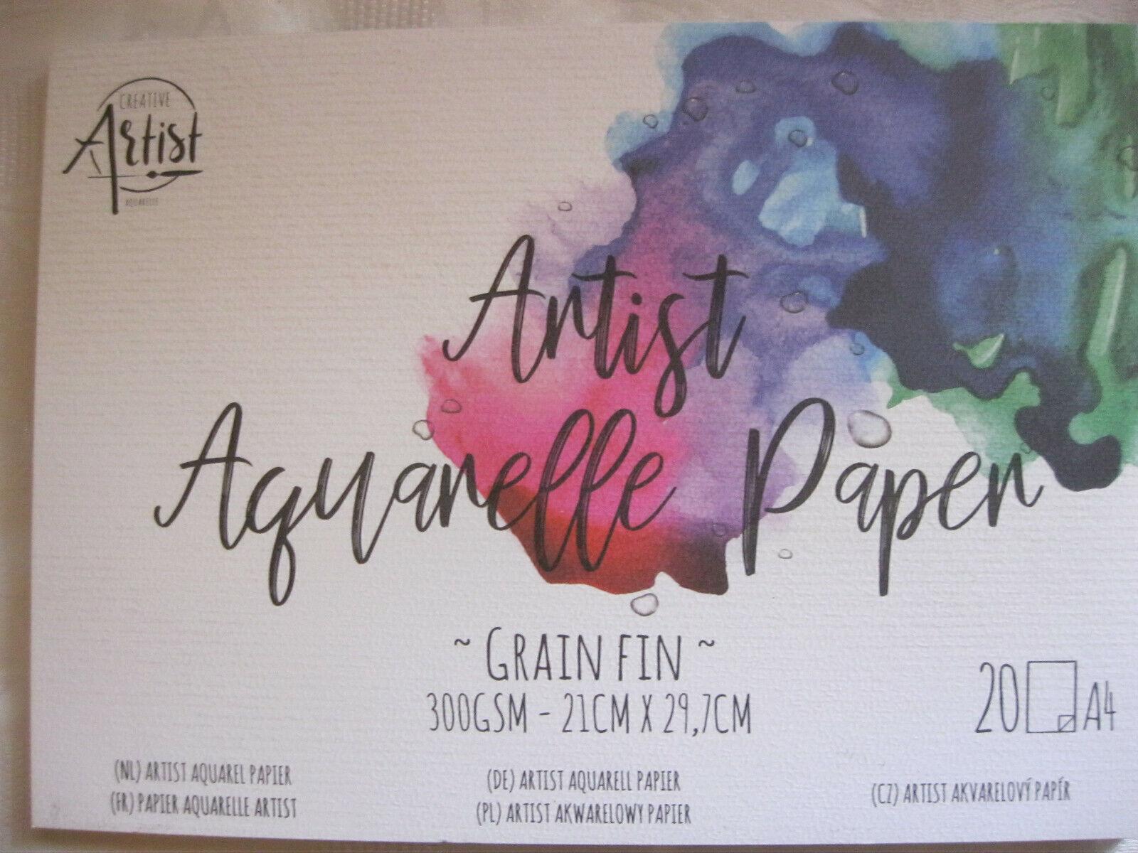 Aquarell Papier Malblock 20 Blatt Din A4 300g/qm weiß Zeichenblock 21 x 29,7 cm