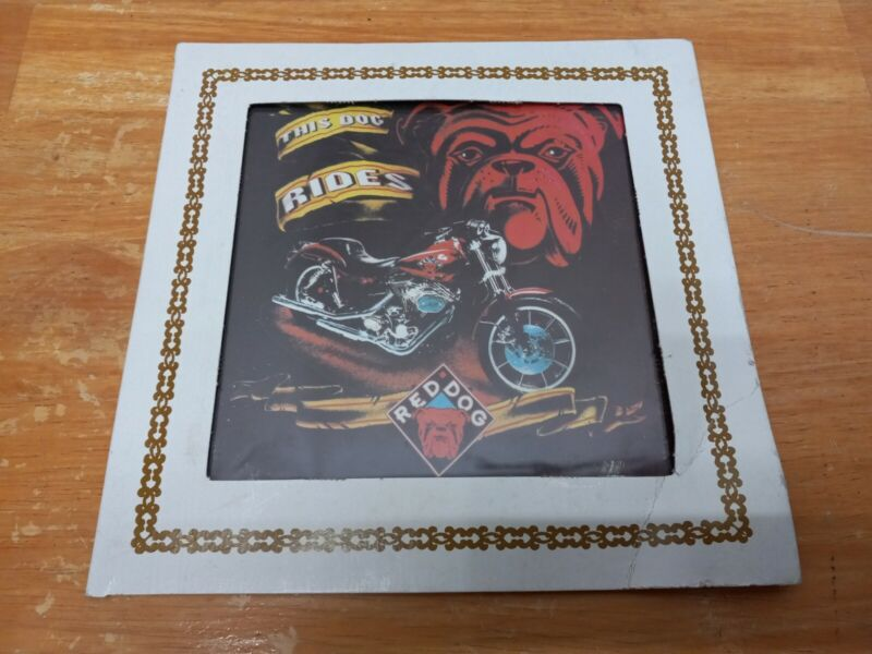 """Vintage RED DOG Beer Carnival Fair Prize Glass """"This Dog Rides"""" 8"""" x 8"""""""