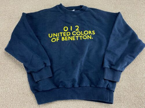 United Colors of Benetton Sweatshirt Crewneck 012 Blue Youth Kids Italy VTG