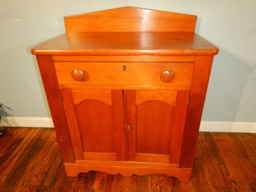 Antique Country Pine Single Drawer Washstand Nightstand  Bedside lamp table