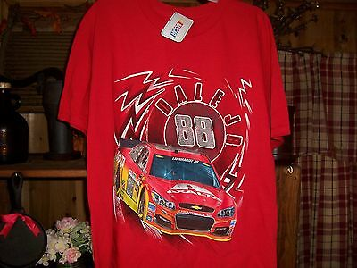 NASCAR DALE EARNHARDT JR 88 MENS T SHIRT SIZE LARGE COLOR RED RACE CAR APPAREL  Dale Earnhardt Jr Apparel