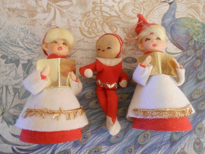 Vintage Japan Christmas Pixie Elf & Choir Boys/Girls-Darling Holiday Treasures!