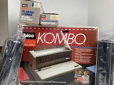 Ibico Kombo Heavy Duty Punch Binding Machine In Box With Plastic Combs Manual
