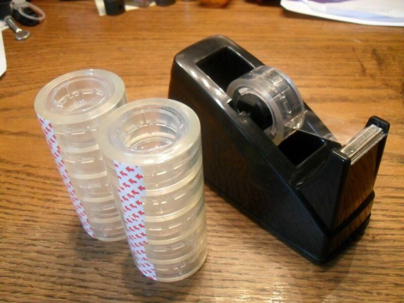 """Desktop Tape Dispenser & 10 Rolls 3/4"""" Wide Clear Tape - FREE SHIPPING"""