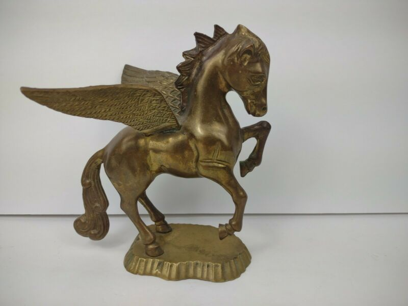 Vintage Brass Pegasus Horse Statue Figurine Mythical Wings