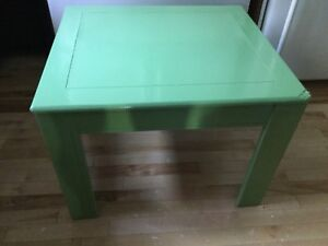 Green misfit square coffee table