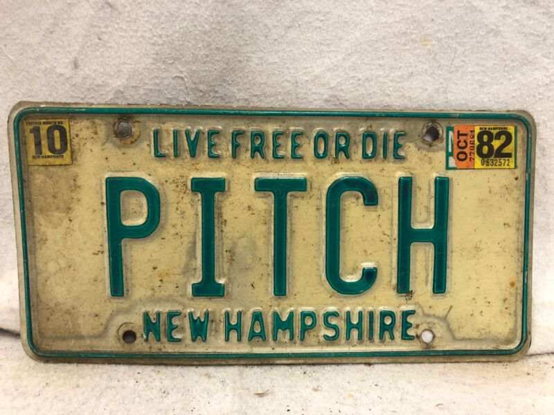"1982 New Hampshire Vanity License Plate ""PITCH"""