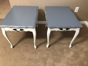 2 French Provincial end tables stained in country Grey