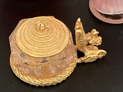 Tiny Vintage Gold and Glass Poodle Jewelry Trinket Dish with Lid