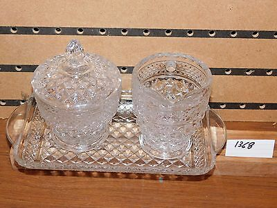 VINTAGE WEXFORD CLEAR GLASS SUGAR BOWL W/LID, CREAMER & TAAY  BY ANCHOR HOCKING