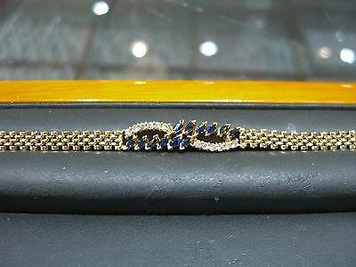 "FINE DIAMOND AND SAPPHIRE ROLEX LINK BRACELET 14 KARAT YELLOW GOLD NEW 7"" WOW"