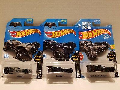 Lot of 3 Different Hot Wheels - DC Batman Batmobiles Justice League Vs Superman