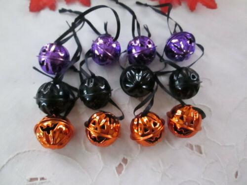 "Pkg of 12 Assorted Halloween 1"" Jack O Lantern Pumpkin Bell Ornaments New"