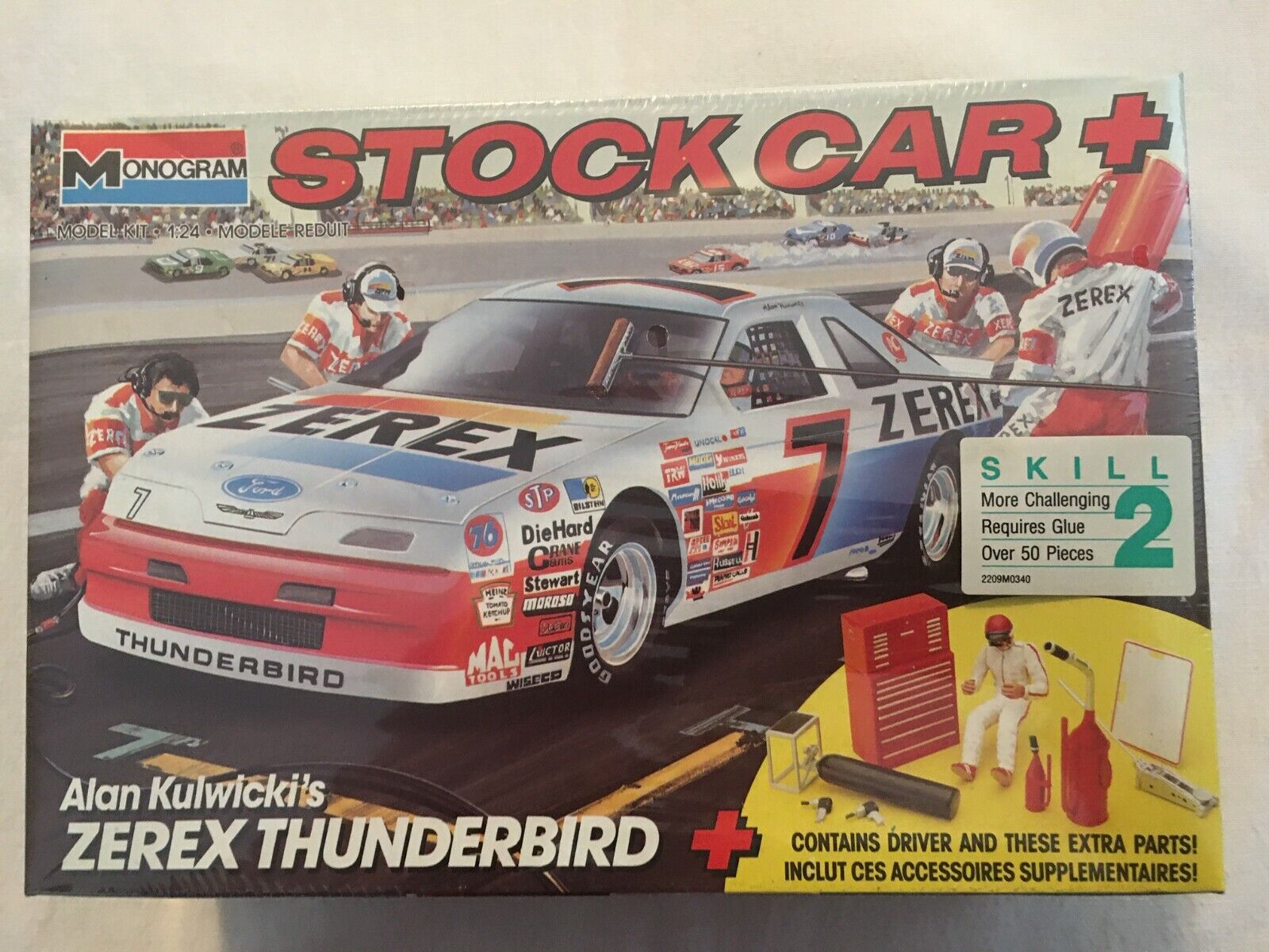 1990 Monogram 7 Alan Kulwicki Zerex Thunderbird Stock Car Kit - $17.50