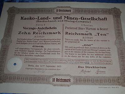1022 : dt. Aktie / Wertpapier , Kaoko-Land  / Minen , September 1925 ,10 RM ,677