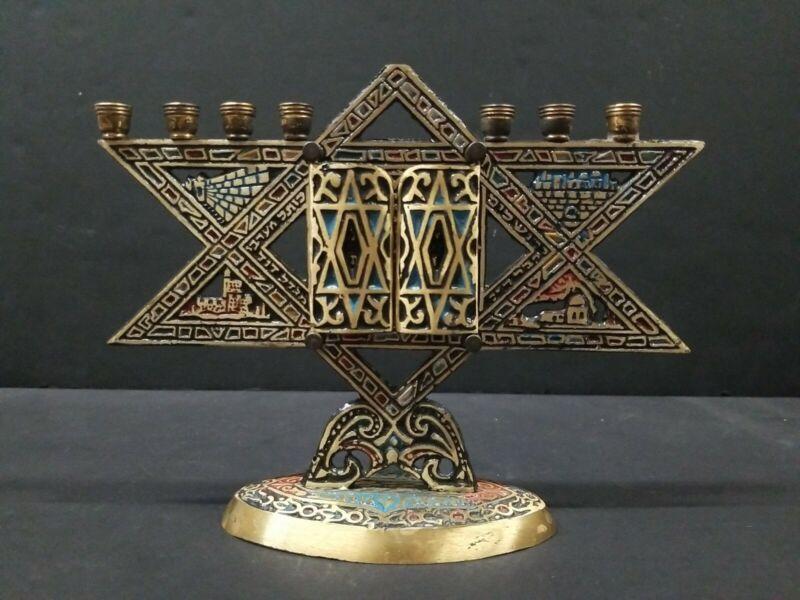 Menorah 9 Branch Jerusalem Star of David Scroll Bronze Hanukkah