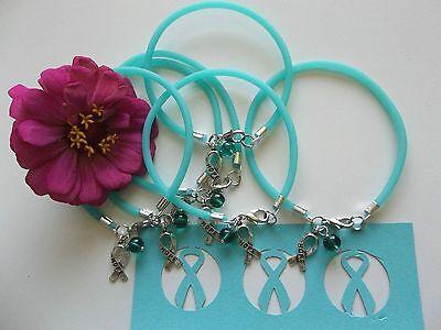 6 Ovarian Cancer Trigeminal Neuralgia   Pkd Awareness  Teal Rubber  Bracelets