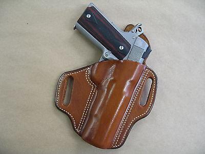 """Ruger SR 1911 5"""" OWB Leather 2 Slot Molded Pancake Belt Holster CCW TAN RH"""