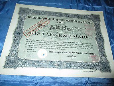 histor. AKTIE , Bibliographisches Institut AG LEIPZIG  1915 // 1000 Mark ,Nr.103