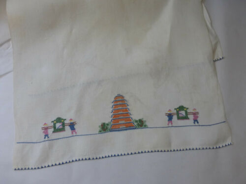 """Vintage Hand Embroidery Cross-stitch Linen 15""""x20""""  Finger Tip Towel Asian Scene"""