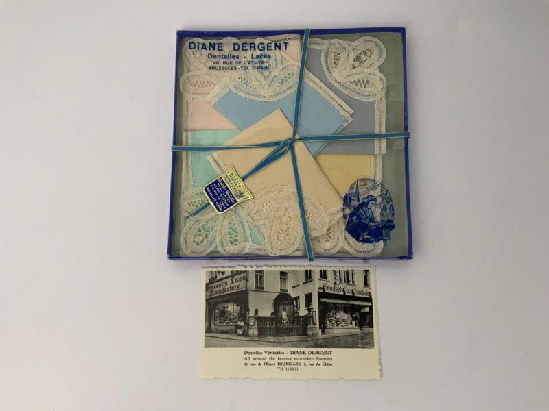 Vintage Brussels Lace Linen Handkerchief Set Of 6 Diane Dergent Postcard