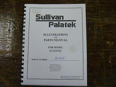 Sullivan Palatek D185pjd Air Compressor Factory Parts Catalog Manual