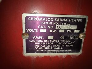 chromalox sauna heater