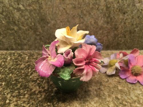 "Staffs Crown England Fine Bone China Flower Bowl Floral Arrangement 3.25"""