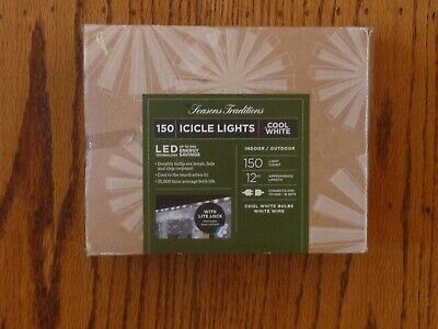 White Icicle LED String Lights 150 Lights Cool White 12 Ft. Seasons Traditions