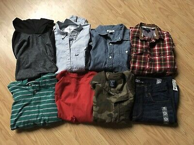 8 Pc LOT Boys Clothes Jeans Shirts Pullovers Abercrombie Old Navy Aero Sz 10/12