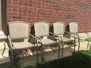4 Metal Stackable Patio Chairs