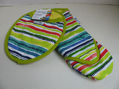 Fiesta Puppet Style Oven Mitt and Pot Holder - Multicolored Stripe - NWT