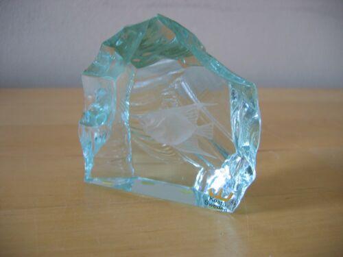Vintage KOSTA Iceberg Etched Fish Sculpture Signed Vicke LINDSTRAND  1 of 2