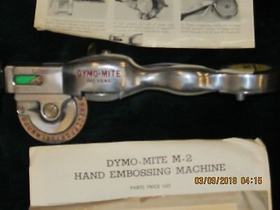 Vintage Dymo Mite Tapewriter Hand Embossing Tool Model M-2 Polished Aluminum Ob