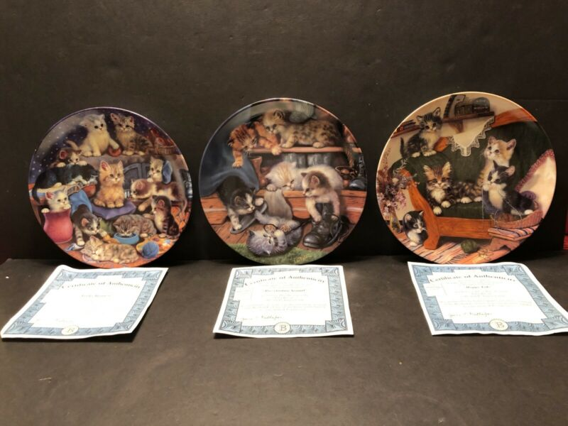LOT OF 3 BRADFORD EXCHANGE LITTER RASCALS CAT COLLECTOR PLATES JURGEN SCHOLZ COA