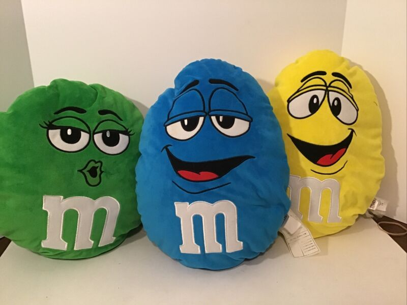 "M&Ms World Blue Yellow Green Face Plush Stuffed 15"" Round Pillows Lot Of 3"