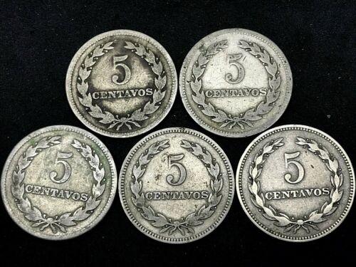 LOT OF (5) COINS: (1944-50-1952) EL SALVADOR - 5 Centavos, Nickel/Silver KM134A.