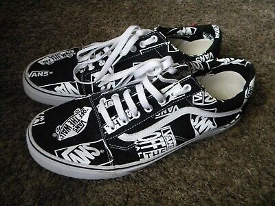 VANS AUTHENTIC OFF THE WALL REPEAT BLACK & WHITE MENS 13 SNEAKER NEW