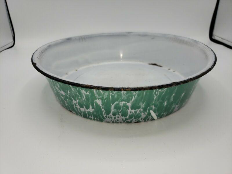 Antique Light Green White Swirl Graniteware Enamel Basin Pan
