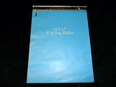 50 Blue 14x 17 Poly Bag Postal Envelopes Large Self-sealing Shipping Mailers