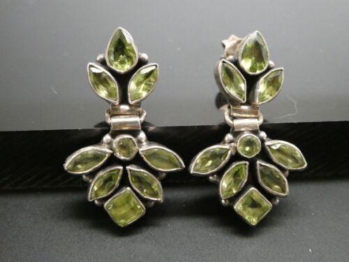 Vintage Peridot Gemstone Sterling Silver 925 Hinged Post Drop Dangle Earrings