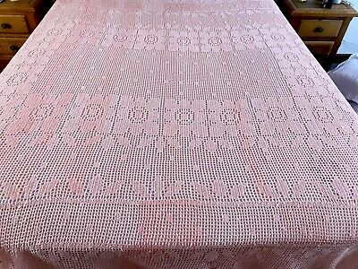 Vintage Large Hand Crochet PEACH Bed Cover Throw 90x98 Inches