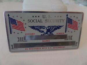 VINTAGE METAL SOCIAL SECURITY CARD--USA Flag & Eagle, New-Mint Silver in color
