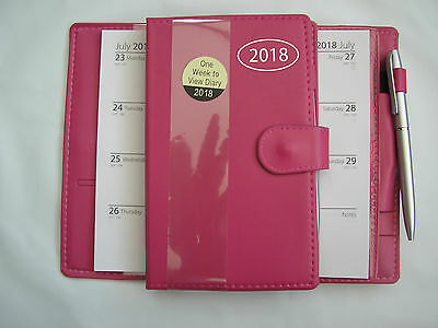 "2018 pink leather look slim diary / organiser with pen 7"" x 4.5"""
