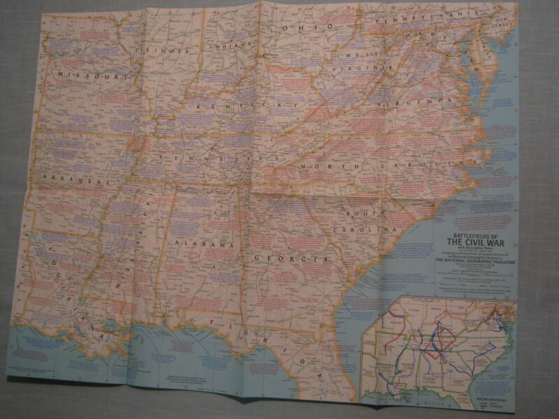 BATTLEFIELDS OF THE CIVIL WAR MAP + COCKPIT  National Geographic April 1961 MINT