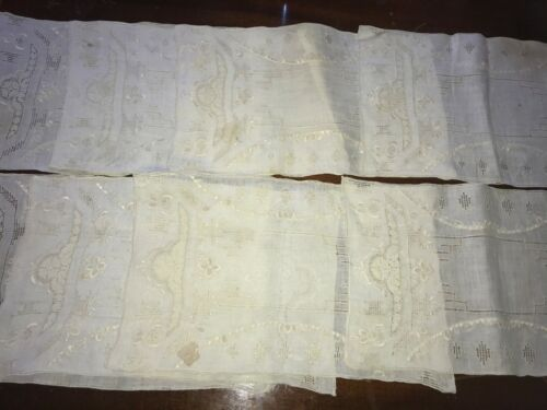 "VINTAGE MADEIRA CROCHET EMBROIDERED CUT OUT 8 PLACEMATS 16"" LONG OT 132"