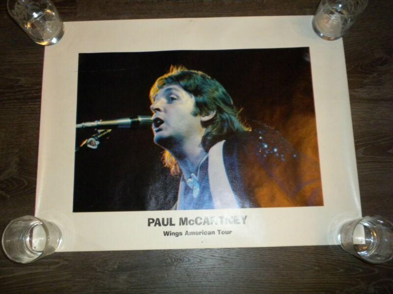 "Paul McCartney vintage wings american tour poster 25""x19""  tack holes"