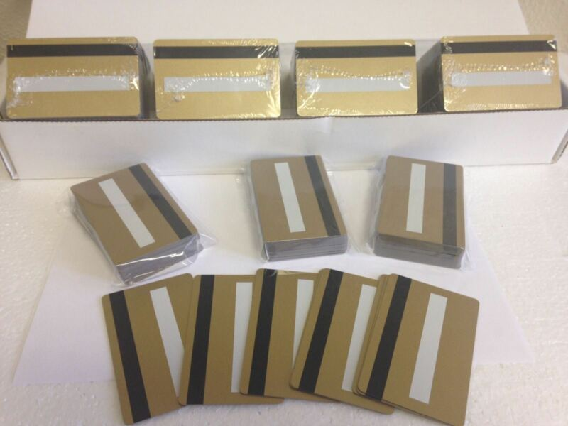 1000 Gold CR80 PVC Cards HiCo MagStripe 2 Track w/ Signature Panel - ID Printers